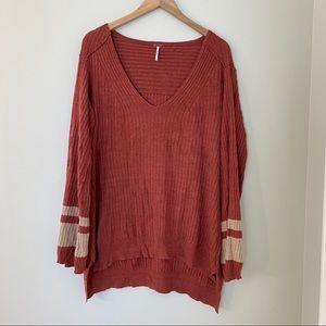 Free People Oversized V-Neck Ribbed Sweater